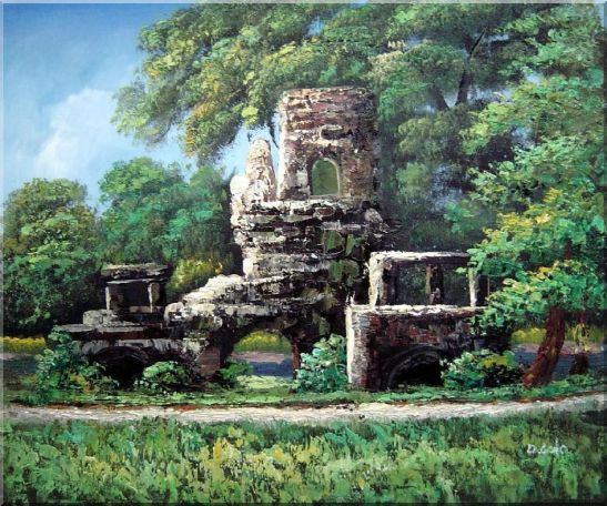 Garden Stone Memory Oil Painting Naturalism 20 x 24 Inches