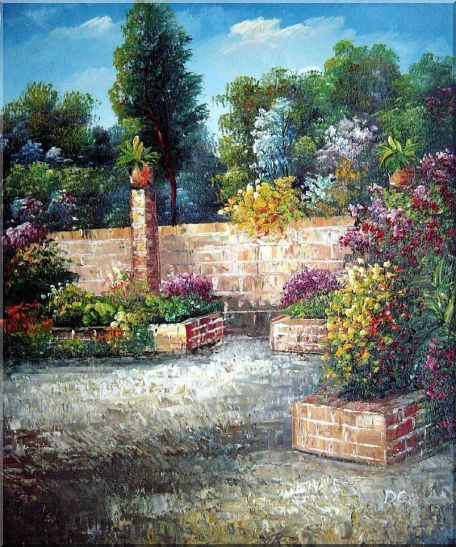 Around the Garden Corner Oil Painting France Impressionism 24 x 20 Inches