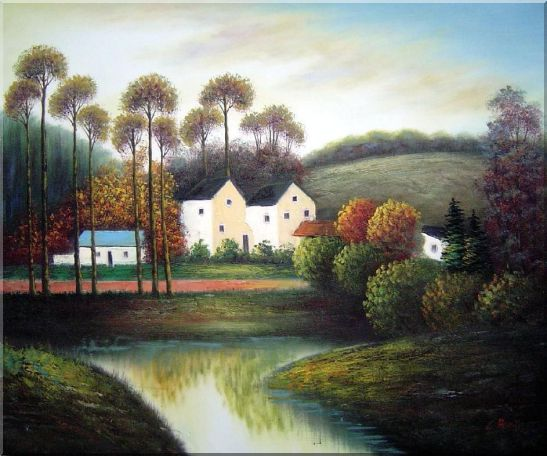 Houses, Creek, Road, Trees and Mountain Oil Painting Village Impressionism 20 x 24 Inches
