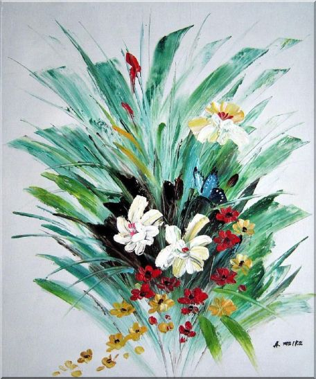 Red, White, Yellow Flowers With Green Leaves Oil Painting Decorative 24 x 20 Inches