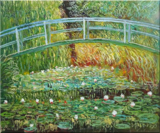 Bridge Over a Pond of Water Lilies in Summer, Monet Oil Painting Landscape River France Impressionism 20 x 24 Inches