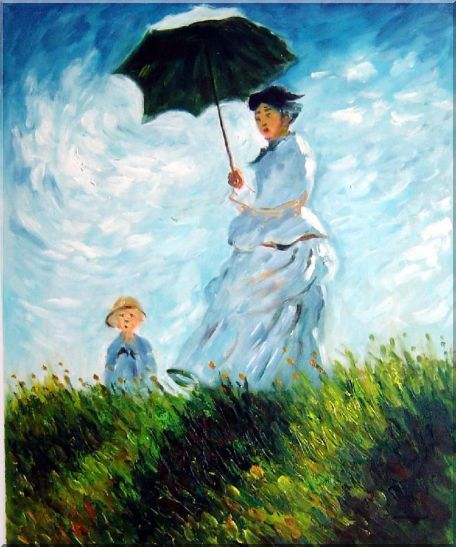 The Stroll, Camille Monet and Her Son, Claude Monet Replica Oil Painting Portraits Woman Child Impressionism 24 x 20 Inches