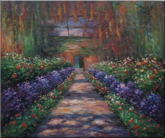 Garden Path at Giverny, Monet Reproduction Oil Painting France Impressionism 20 x 24 Inches