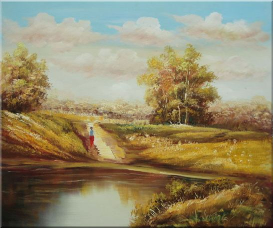 Strolling On Golden Autumn Country Road Oil Painting Landscape Naturalism 20 x 24 Inches