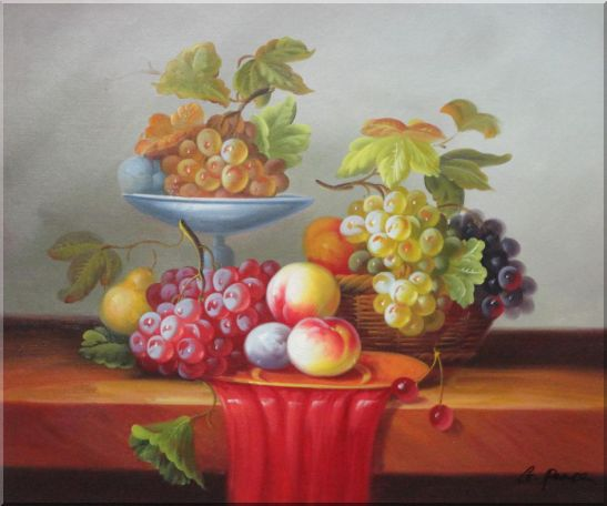 Still Life of Grapes and Peaches on Table Oil Painting Fruit Classic 20 x 24 Inches