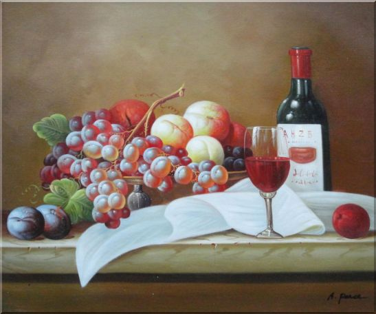 Still Life with Grapes, Peach and Wine Glass on Table Oil Painting Fruit Classic 20 x 24 Inches