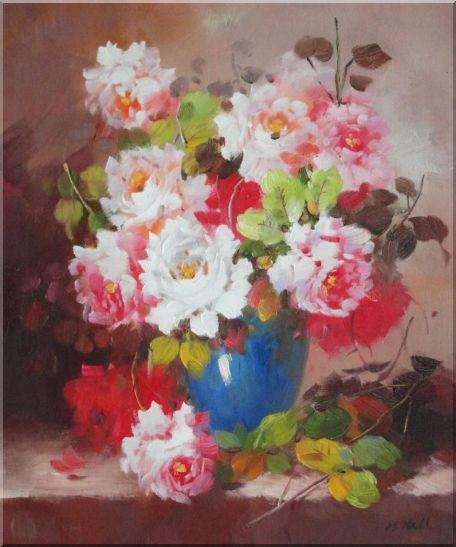 Pink and White Flowers in Blue Vase Oil Painting Still Life Bouquet Naturalism 24 x 20 Inches
