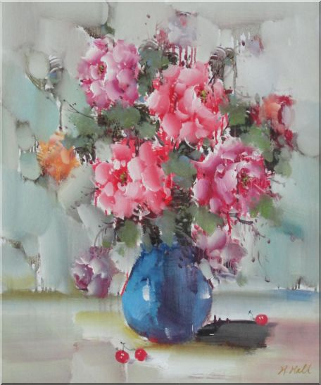 Pink, Yellow and Purple Flowers in Blue Vase on Table Oil Painting Still Life Naturalism 24 x 20 Inches