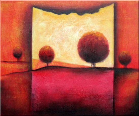 Red Modern Landscape Oil painting Tree Decorative 20 x 24 Inches
