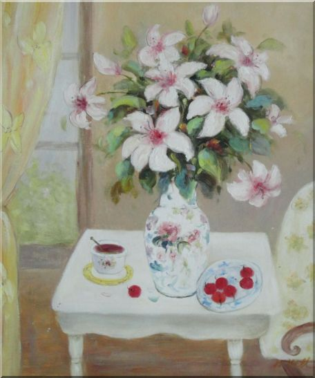 Beautiful Still Life Flower Bouquet on Window Table Oil Painting Fruit Classic 24 x 20 Inches