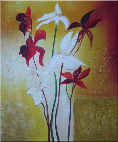 Red and White Flowers Oil Painting Decorative 24 x 20 Inches