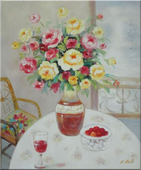 Pink, Yellow and Red Flowers in Vase with Red Wine and Fruits on Table Oil Painting Still Life Bouquet Naturalism 24 x 20 Inches