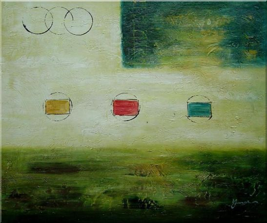 Yellow and Green Abstract Oil Painting Nonobjective Modern 20 x 24 Inches