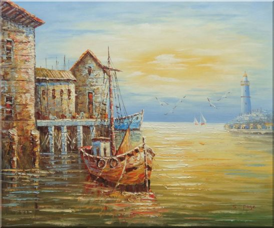Fishing Boats Parks On Harbour Oil Painting Naturalism 20 x 24 Inches