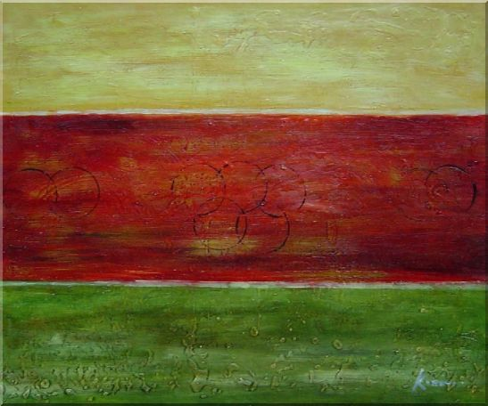 Yellow, Red and Green Abstract Oil Painting Nonobjective Modern 20 x 24 Inches