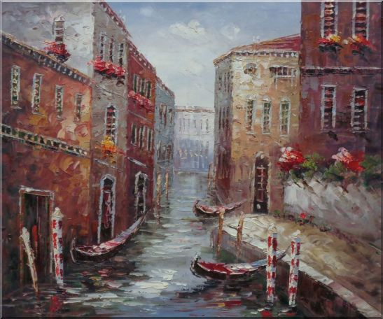 Boat Docked on Canal of Venice, Italy Oil Painting Impressionism 20 x 24 Inches