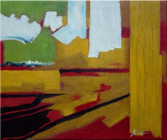 Yellow, Red, Green and White Abstract Oil Painting Nonobjective Impressionism 20 x 24 Inches