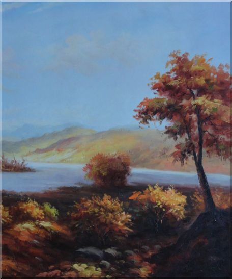 Trees at Confluence of Two Rivers Oil Painting Landscape Naturalism 24 x 20 Inches