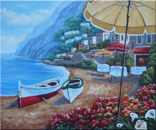 Boats, Beachside Restaurant and Mountainside Red Roof Houses Oil Painting Mediterranean Naturalism 20 x 24 Inches