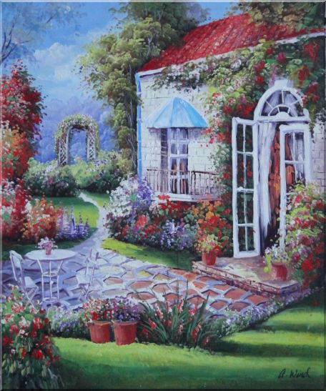 Gorgeous Backyard of Flower Garden in Spring Oil Painting Naturalism 24 x 20 Inches