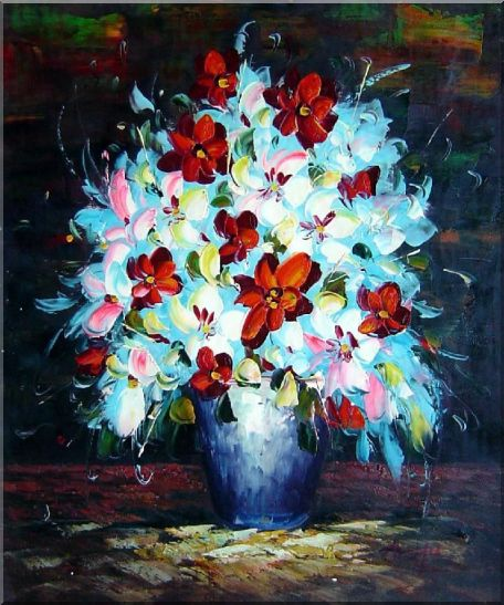 Knife Painted Red, White and Pink Flowers Oil Painting Still Life Bouquet Impressionism 24 x 20 Inches
