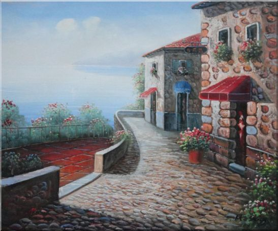 Beachside Mediterranean Stone House Oil Painting Naturalism 20 x 24 Inches