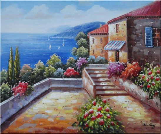 Mediterranean House with Colorful Flowers Oil Painting Naturalism 20 x 24 Inches