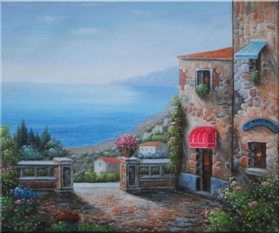 Gate of A Mediterranean Stone House Oil Painting Naturalism 20 x 24 Inches