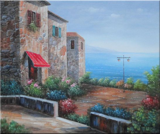 Patio of Stone House at Mediterranean Oil Painting Naturalism 20 x 24 Inches