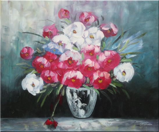 Still Life Poppy Flowers Oil Painting Bouquet Impressionism 20 x 24 Inches