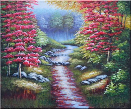 Trail in Beautiful Autumn Red and Yellow Forest Oil Painting Landscape Field Naturalism 20 x 24 Inches