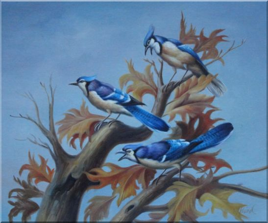 Three Blue Jays Singing Happily in Spring Oil Painting Animal Bird Naturalism 20 x 24 Inches