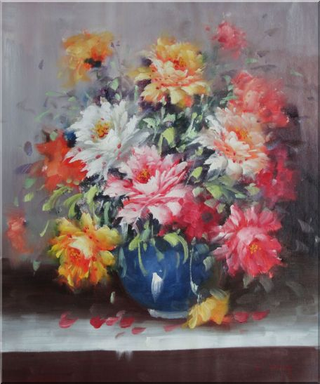 Still Life of Flowers in a Blue Vase Oil Painting Naturalism 24 x 20 Inches