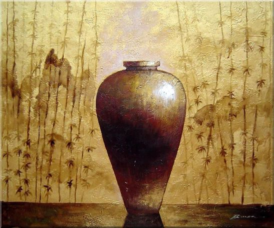 Gold Earthen Jar Oil Painting Still Life Asian 20 x 24 Inches