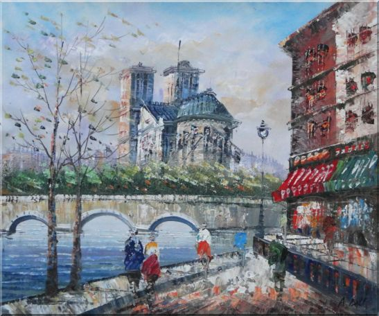 Seine River Walk Near Notre Dame Cathedral Oil Painting Cityscape France Impressionism 20 x 24 Inches
