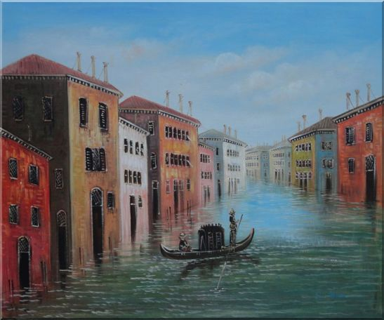 Enjoy Gondola On Quite Venice Water Street Oil Painting Italy Impressionism 20 x 24 Inches