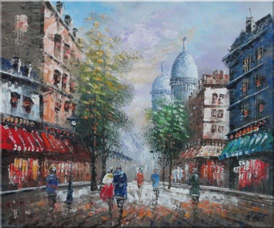 Visitors Strolling on Paris Street Oil Painting Cityscape France Impressionism 20 x 24 Inches