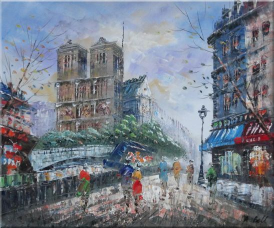 Street Walking Near Notre Dame de Paris Oil Painting Cityscape France Impressionism 20 x 24 Inches