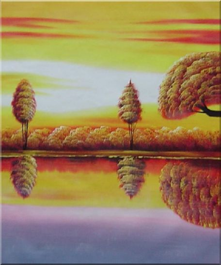 Golden Tree Reflections - 3 Canvas Set 3-canvas-set,landscape,river naturalism  24 x 60 inches