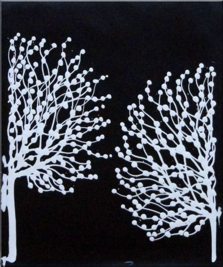 Black and White Trees - 3 Canvas Set 3-canvas-set,landscape,tree decorative  24 x 60 inches