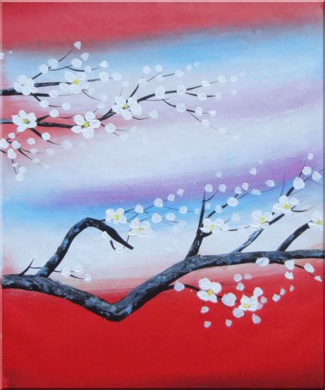Blooming Plum Tree - 3 Canvas Set 3-canvas-set,flower asian  24 x 60 inches