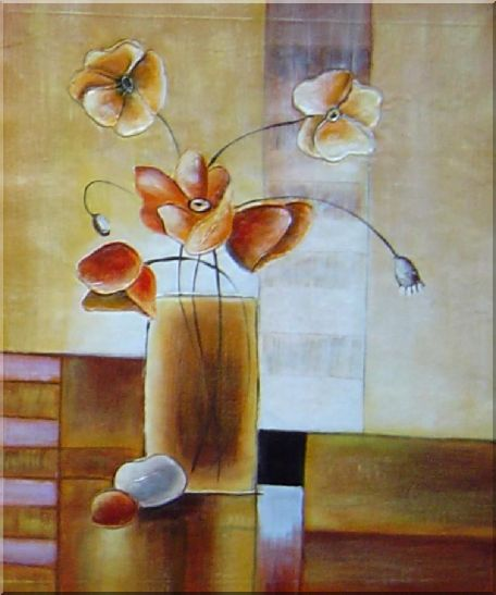 Vases of Flowers in Warm Setting - 3 Canvas Set 3-canvas-set,flower decorative  24 x 60 inches
