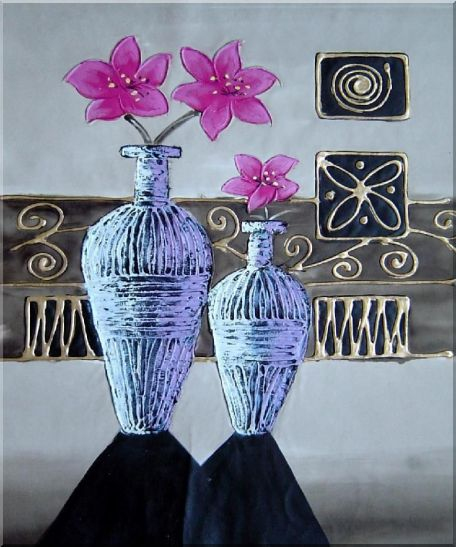 Flowers in Vases  - 3 Canvas Set 3-canvas-set,still-life,flower decorative  24 x 60 inches