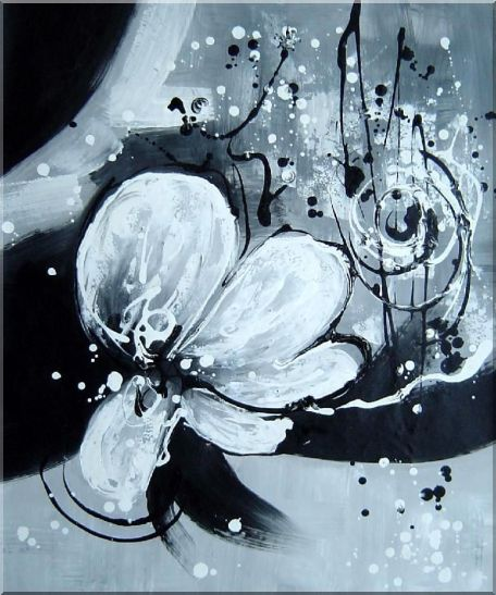 Two Canvas Black White Flower Paintings - 2 Canvas Set 2-canvas-set,flower, orchid decorative  24 x 40 inches