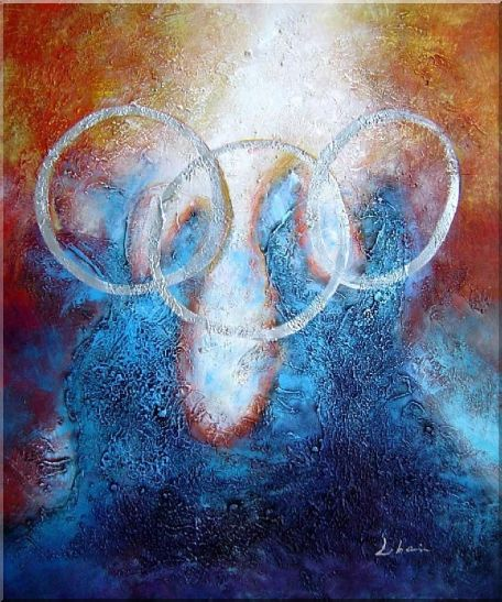 Five Rings on Two Panel - 2 Canvas Set 2-canvas-set,nonobjective decorative  24 x 40 inches