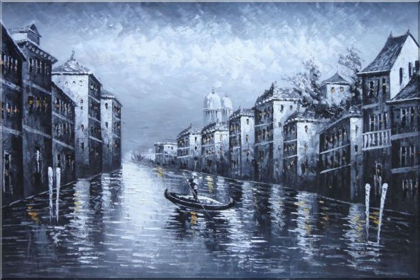 Black White Lonely Gondola in Venice Street of Grand Canal Oil Painting Italy Impressionism 24 x 36 Inches