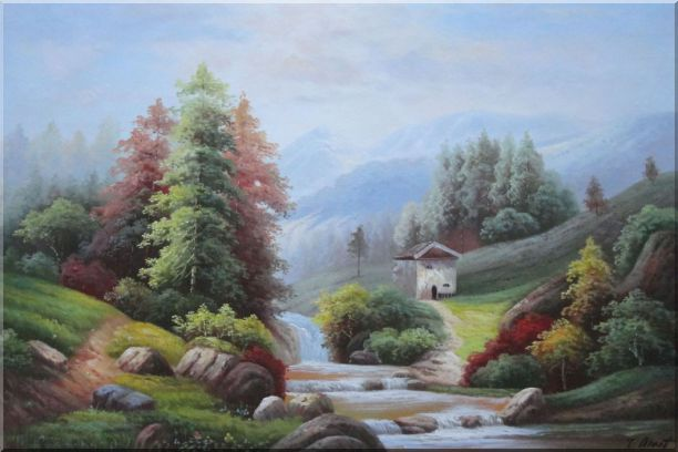 Small Creek Cascade Waterfall Mountain Valley Scenery in Autumn Oil Painting Landscape River Naturalism 24 x 36 Inches