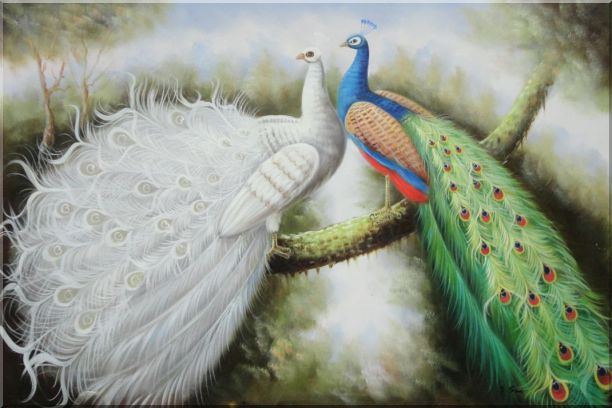 Beautiful White and Blue Peacocks Oil Painting Animal Naturalism 24 x 36 Inches