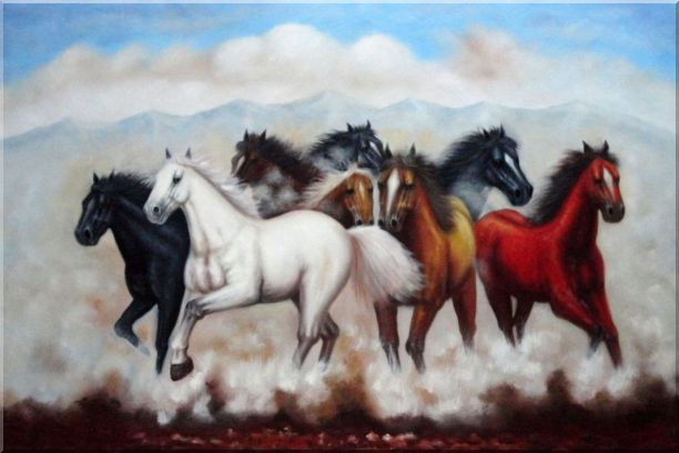 Eight Running Mustang Horses Oil Painting Animal Naturalism 24 x 36 Inches