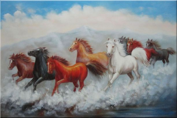Eight Running Mustang Herd Horses Oil Painting Animal Naturalism 24 x 36 Inches